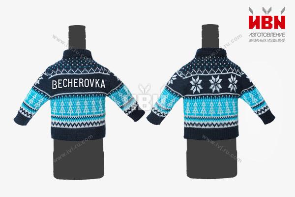 Вязаный мини свитер с логотипом BECHEROVKA