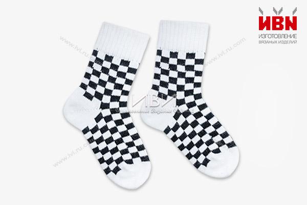 """Вязаные носки """"Шахматы"""""""