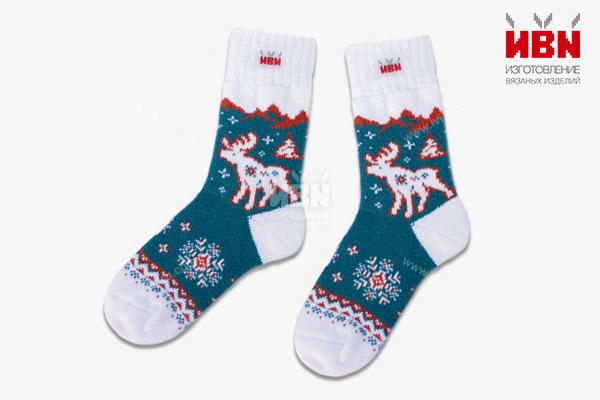 """Вязаные носки """"Снежный лес"""""""