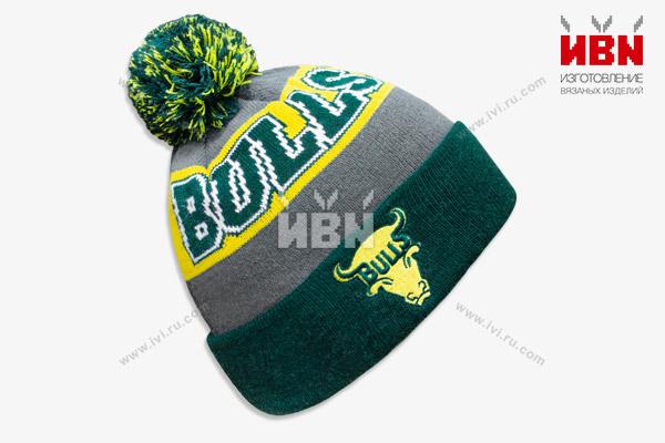 Вязаная шапка с логотипом BULLS