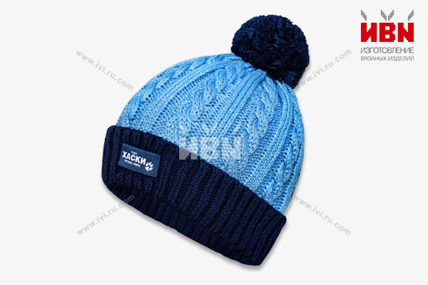 Вязаная шапка с логотипом ХАСКИ