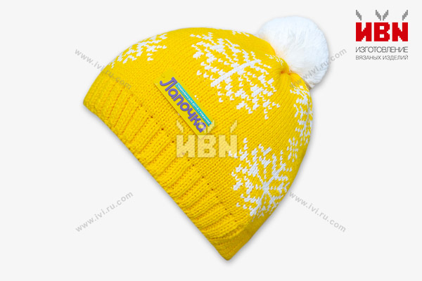 Вязаная шапка с логотипом Лапочка