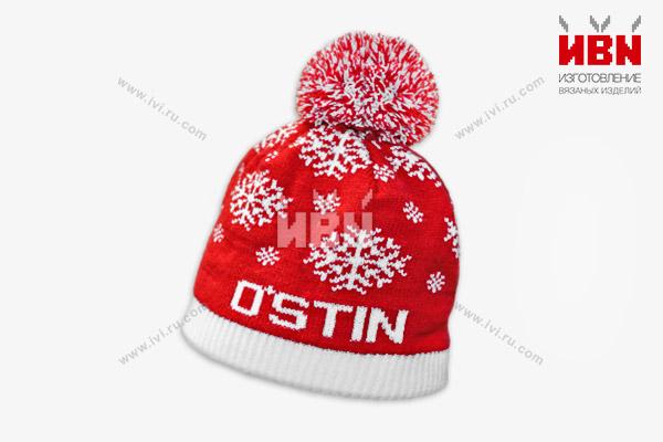 Вязаная шапка с логотипом O'STIN