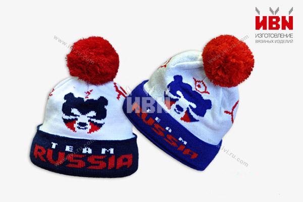 Вязаная шапка с логотипом TEAM RUSSIA