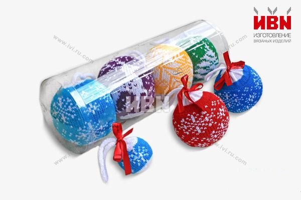 Вязаные шарики новогодние